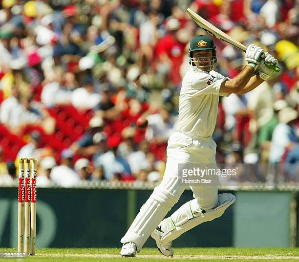 Ricky Ponting of Australia in action during day two of the Boxing Day 3rd Test between Australia and India at the MCG on December 27 2003 in...