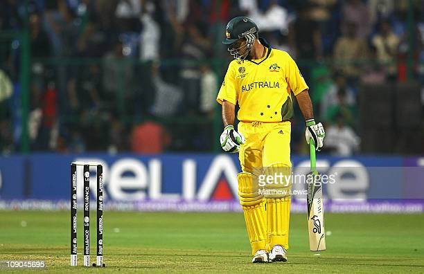 Ricky Ponting of Australia inspects the crease after he was stumped by MS Dhoni of India during the 2011 ICC World Cup Warm up game between India and...