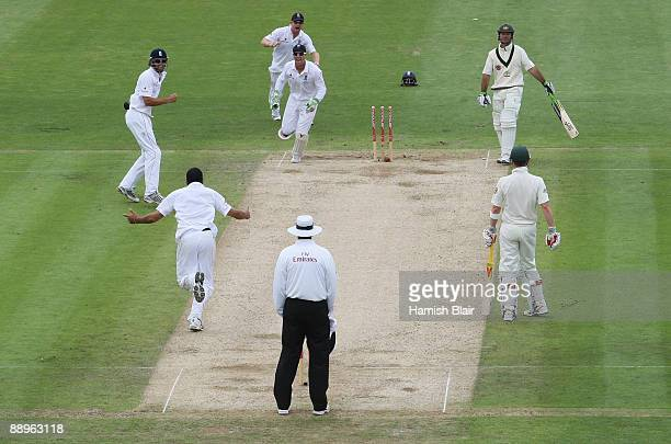 Ricky Ponting of Australia is bowled by Monty Panesar of England during day three of the npower 1st Ashes Test Match between England and Australia at...