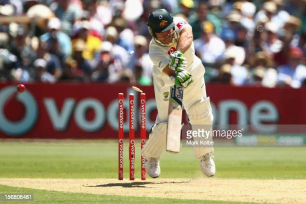 Ricky Ponting of Australia is bowled Jacques Kallis of South Africa during day one of the 2nd Test match between Australia and South Africa at...