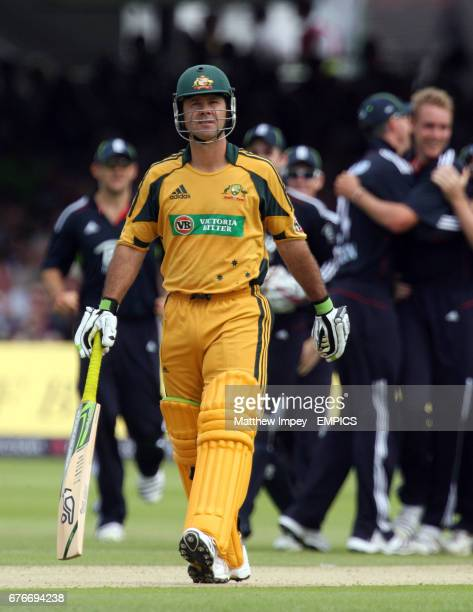 Ricky Ponting of Australia leaves the crease after being dismissed by Stuart Broad of England