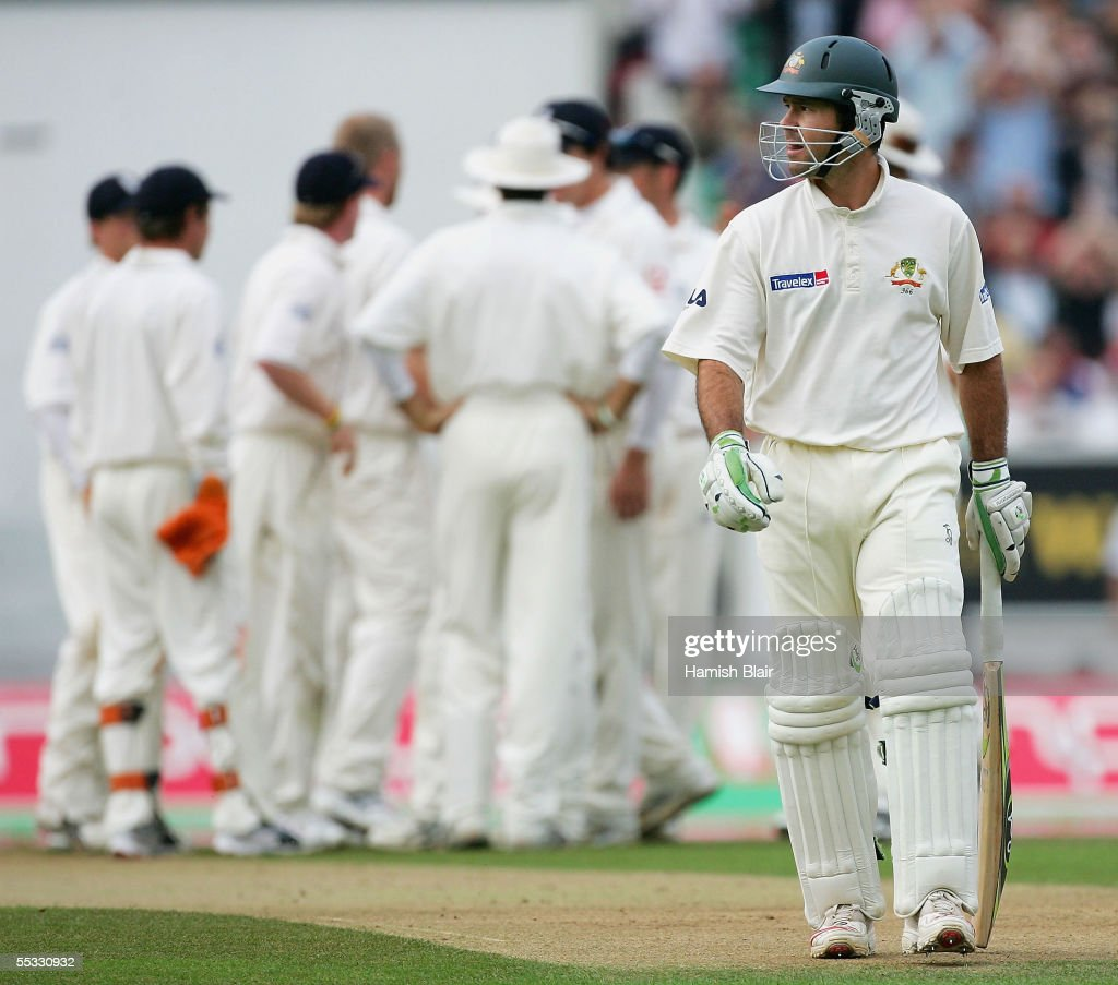 Ricky Ponting of Australia leaves the field after being dismissed during day three of the Fifth npower Ashes Test between England and Australia played at The Brit Oval on September 10, 2005 in London, United Kingdom