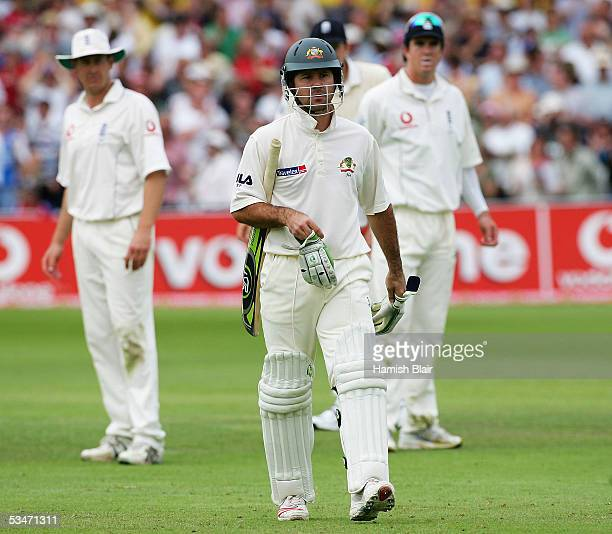 Ricky Ponting of Australia leaves the field after being run out during day three of the Fourth npower Ashes Test between England and Australia played...
