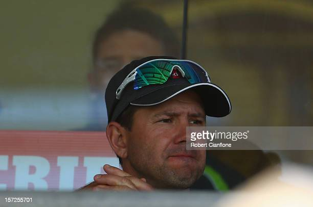 Ricky Ponting of Australia looks on during day two of the Third Test Match between Australia and South Africa at WACA on December 1 2012 in Perth...