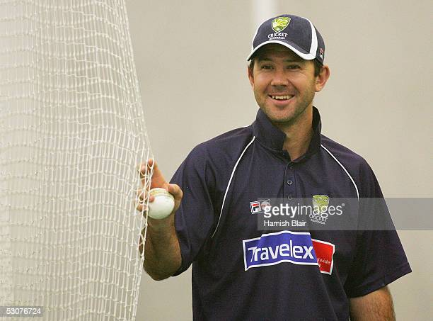 Ricky Ponting of Australia looks on during training in the indoor nets at Sophia Gardens on June 16, 2005 in Cardiff, Wales.