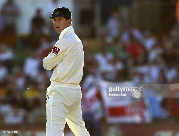 Ricky Ponting of Australia looks on in the field during day one of the Third Ashes Test match between Australia and England at the WACA on December...