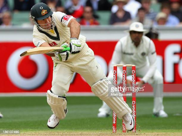 Ricky Ponting of Australia loses his balance after flicking a ball off his toes during day one of the First Test match between Australia and India at...