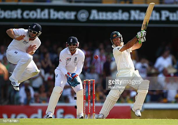 Ricky Ponting of Australia of England during day five of the First Ashes Test match between Australia and England at The Gabba on November 29 2010 in...