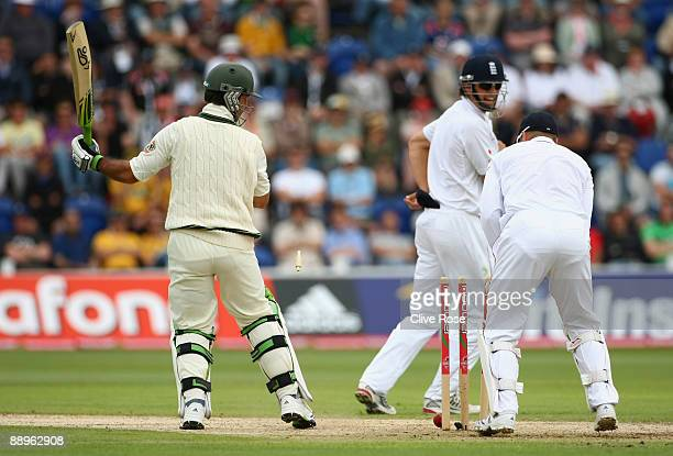 Ricky Ponting of Australia plays onto his stumps and is dismissed during day three of the npower 1st Ashes Test Match between England and Australia...
