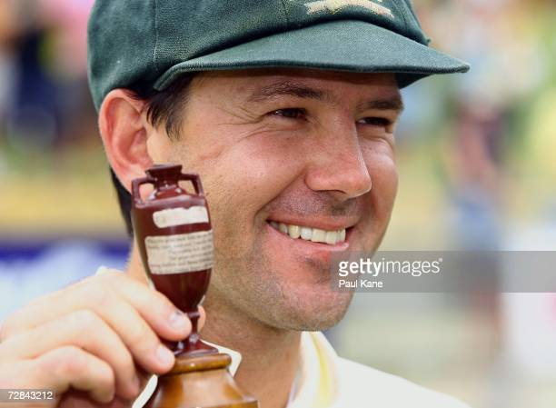 Ricky Ponting of Australia poses with a replica Ashes Urn after securing victory on day five of the third Ashes Test Match between Australia and...