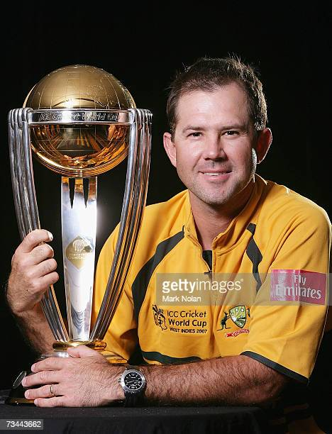Ricky Ponting of Australia poses with the 2003 World Cup trophy during the Australian Cricket team World Cup portrait session at The Hilton Hotel...