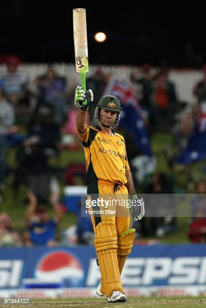 Ricky Ponting of Australia reaches 12000 career ODI runs during the ICC Champions Trophy 1st Semi Final match between Australia and England played at...