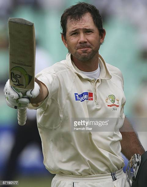 Ricky Ponting of Australia reaches his century during day four of the Second Test between South Africa and Australia played at at Kingsmead on March...