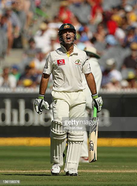 Ricky Ponting of Australia shows his frustration after being dismissed during day three of the First Test match between Australia and India at the...