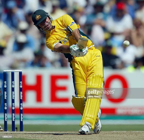 Ricky Ponting of Australia smashes a six off the bowling of Savagal Srinath of India during the ICC Cricket World Cup Final between India and...