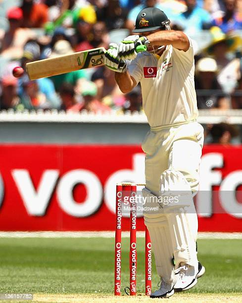 Ricky Ponting of Australia square cuts during day three of the First Test match between Australia and India at the Melbourne Cricket Ground on...