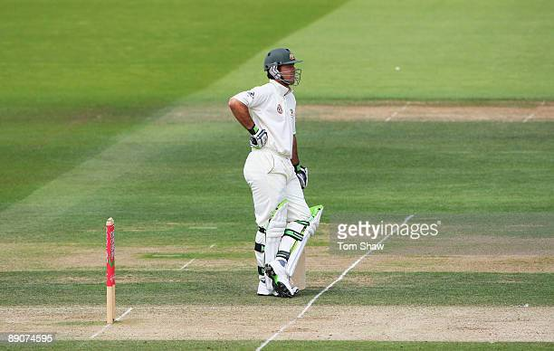 Ricky Ponting of Australia waits in his crease shortly before being dismissed after a referral to the third umpire during day two of the npower 2nd...