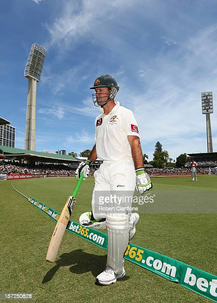 Ricky Ponting of Australia walks from the ground after he was dismissed during day two of the Third Test Match between Australia and South Africa at...