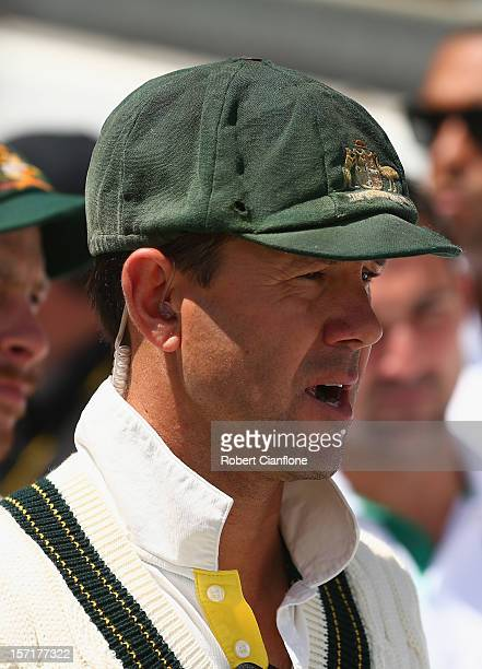 Ricky Ponting of Australia walks onto the pitch during day one of the Third Test Match between Australia and South Africa at the WACA on November 30...