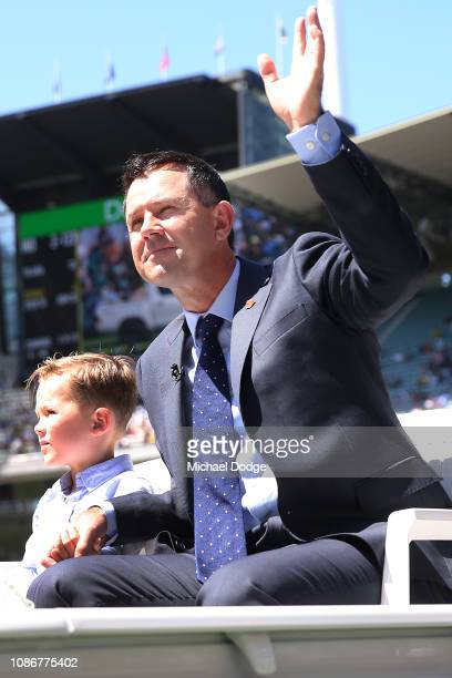 Ricky Ponting of Australia with his son Fletcher Ponting after being inducted into The Hall Of Fame during day one of the Third Test match in the...