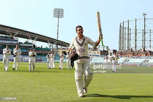 Ricky Ponting of Surrey acknowledges the crowd as he leaves the field during the LV County Championship match between Surrey and Nottinghamshire at...