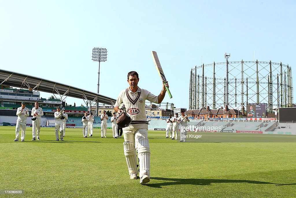 Ricky Ponting of Surrey acknowledges the crowd as he leaves the field during the LV County Championship match between Surrey and Nottinghamshire at The Kia Oval on July 11, 2013 in London, England.