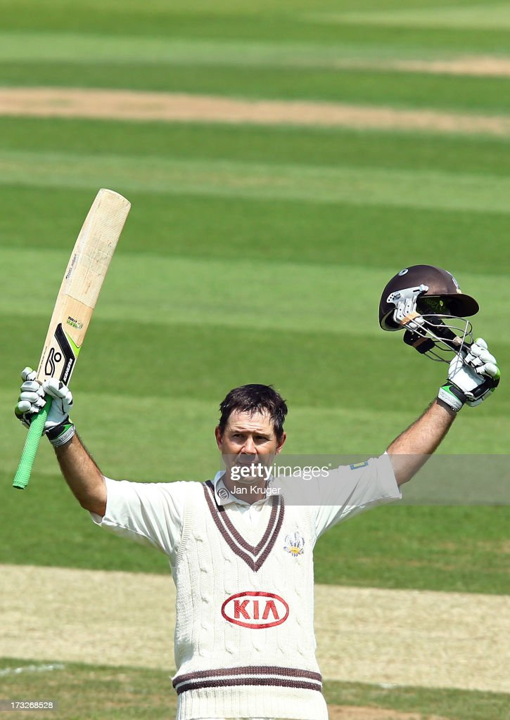 Ricky Ponting of Surrey celebrates and acknowledges the crowd as he reaches his century during the LV County Championship match between Surrey and Nottinghamshire at The Kia Oval on July 11, 2013 in London, England.