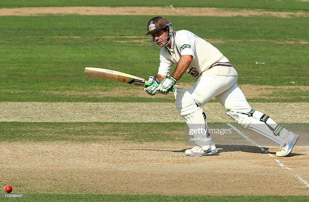 Ricky Ponting of Surrey off his pads during the LV County Championship match between Surrey and Nottinghamshire at The Kia Oval on July 11, 2013 in London, England.