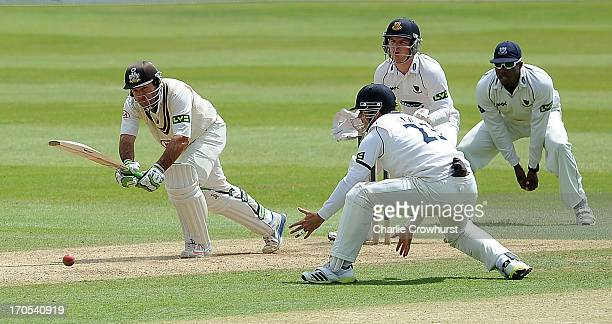 Ricky Ponting of Surrey plays a drive shot during day three of the LV County Championship match between Sussex and Surey at Arundel Castle on June 14...