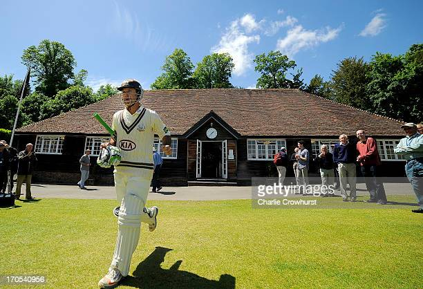 Ricky Ponting of Surrey walks out from the pavilion after lunch during day three of the LV County Championship match between Sussex and Surey at...
