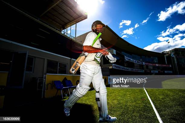 Ricky Ponting of Tasmania walks out to bat during day one of the Sheffield Shield match between the Tasmanian Tigers and the Victorian Bushrangers at...