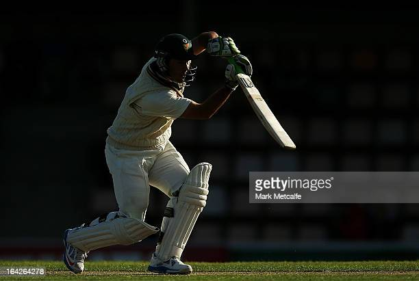 Ricky Ponting of the Tigers bats during day one of the Sheffield Shield final between the Tasmania Tigers and the Queensland Bulls at Blundstone...