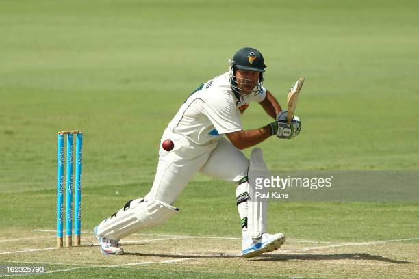 Ricky Ponting of the Tigers bats during day two of the Sheffield Shield match between the Western Australia Warriors and the Tasmania Tigers at WACA...