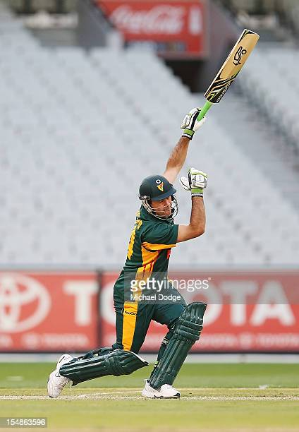 Ricky Ponting of the Tigers bats during the Ryobi One Day Cup match between Victorian Bushrangers and the Tasmanian Tigers at Melbourne Cricket...
