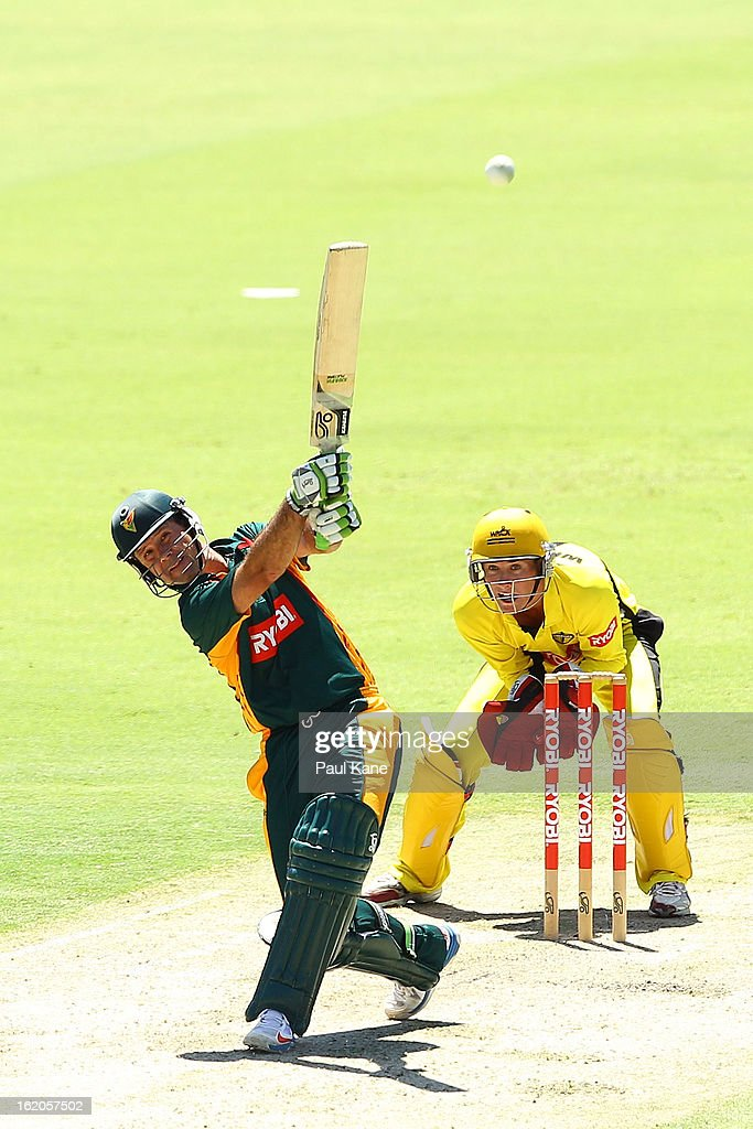 Ricky Ponting of the Tigers hits out during the Ryobi One Day Cup match between the Western Australia Warriors and the Tasmanian Tigers at the WACA on February 19, 2013 in Perth, Australia.