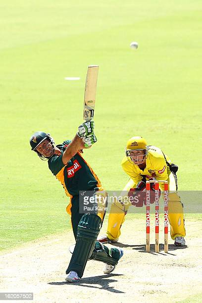 Ricky Ponting of the Tigers hits out during the Ryobi One Day Cup match between the Western Australia Warriors and the Tasmanian Tigers at the WACA...