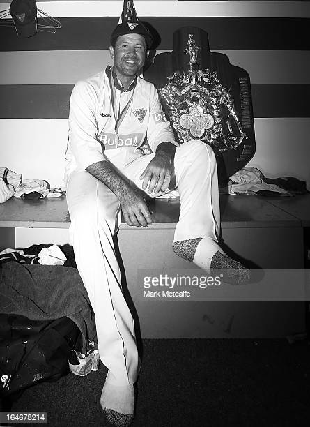 Ricky Ponting of the Tigers poses with the Sheffield Shield trophy after winning the Sheffield Shield final between the Tasmania Tigers and the...