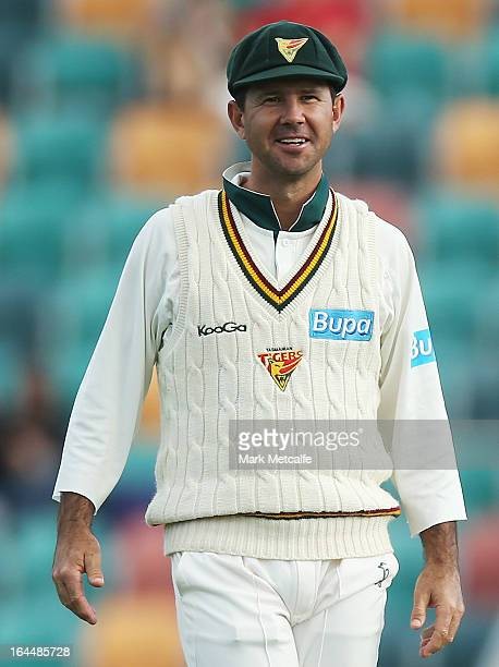 Ricky Ponting of the Tigers smiles during day three of the Sheffield Shield final between the Tasmania Tigers and the Queensland Bulls at Blundstone...