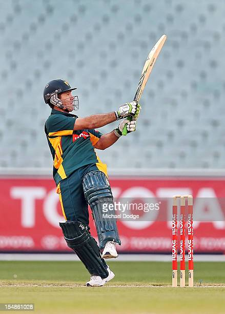 Ricky Ponting of Tigers bats during the Ryobi One Day Cup match between Victorian Bushrangers and the Tasmanian Tigers at Melbourne Cricket Ground on...