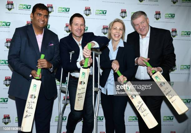 Ricky Ponting and Kim McConnie speak to media during the BKT Cricket Australia BBL Partnership Launch at Melbourne Cricket Ground on September 18...