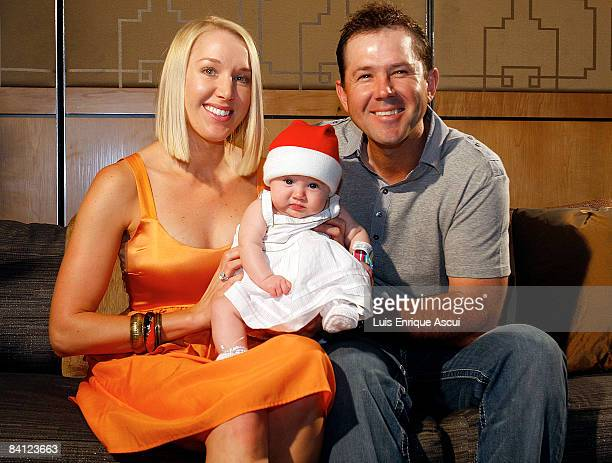 Ricky Ponting poses with his wife Rianna and daughter Emmy during the Australian cricket team's Christmas lunch at Crown Towers on December 25 2008...