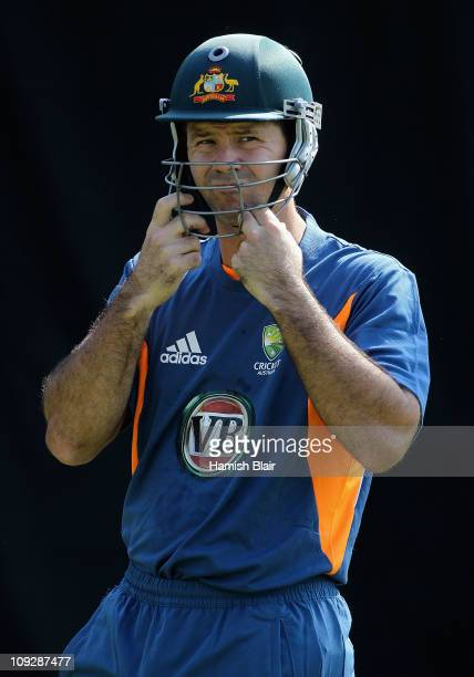 Ricky Ponting prepares to bat during an Australian nets session at Sardar Patel Stadium on February 19 2011 in Ahmedabad India