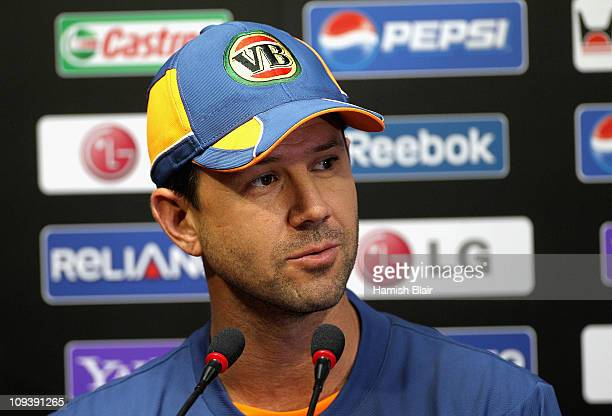 Ricky Ponting speaks to the media ahead of an Australian training session at Vidarbha Cricket Association Ground on February 24, 2011 in Nagpur,...