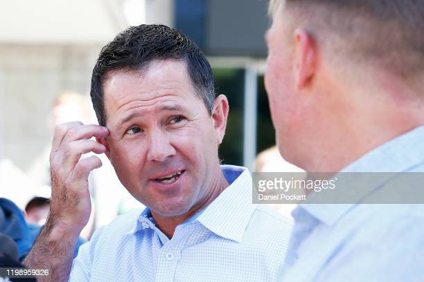 Ricky Ponting speaks to the media along side Shane Warne during a Cricket Australia media opportunity at Melbourne Cricket Ground on January 12, 2020...