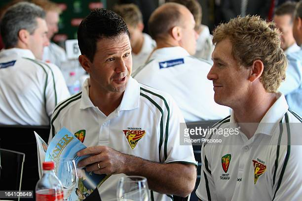 Ricky Ponting speaks with captain of Tasmanian Tigers George Bailey prior to being named Sheffield Shield player of the year during the State Cricket...