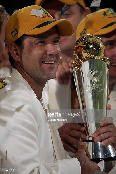 Ricky Ponting the victorious Australian Cricket Team Captain with The ICC Champions Trophy after beating New Zealand in the match played at...