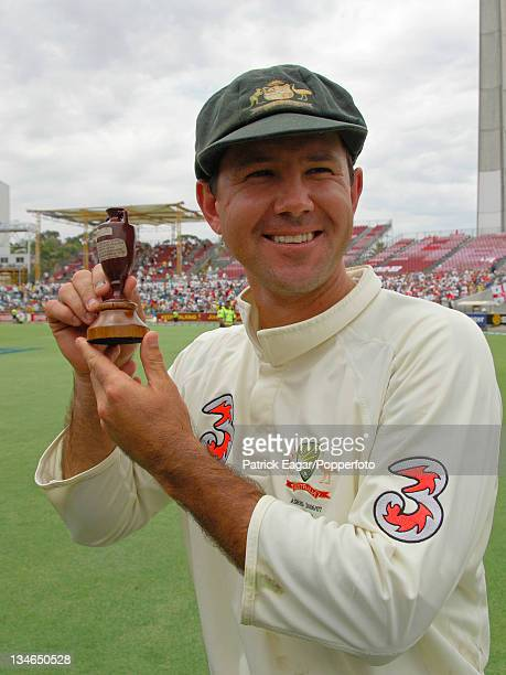 Ricky Ponting with a replica of the Ashes Australia v England 3rd Test Perth Dec 06