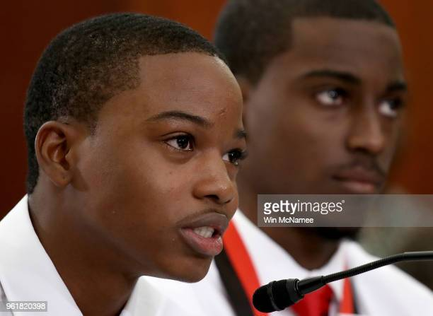 Ricky Pope a student at Miami Northwestern High School and Devery Russell a student at Miami Lakes Educational Center speak during a forum with the...