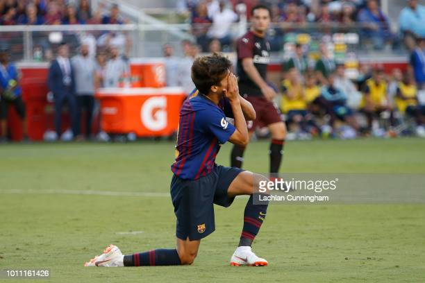 Ricky Puig of FC Barcelona reacts after a missed shot at goal during the International Champions Cup match against AC Milan at Levi's Stadium on...