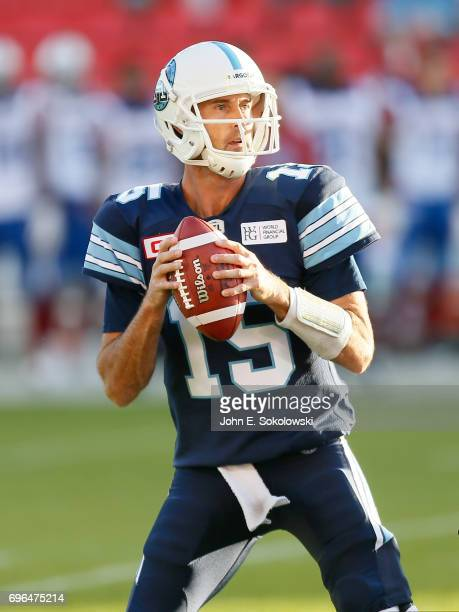 Ricky Ray of the Toronto Argonauts goes to throw a pass against the Montreal Alouettes during a CFL preseason game at BMO field on June 8 2017 in...
